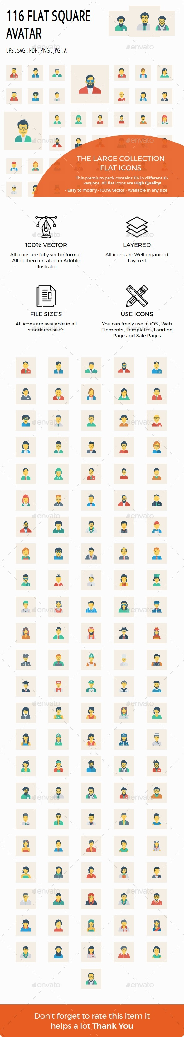100+ Avatar Flat Square - Characters Icons