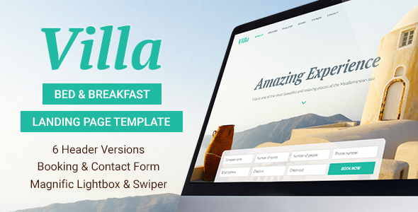 Villa - Bed & Breakfast Landing Page Template