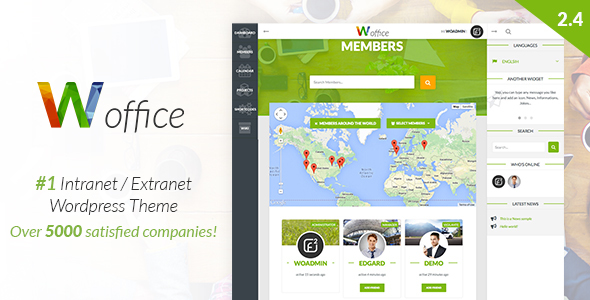 Woffice - Intranet/Extranet WordPress Theme - BuddyPress WordPress