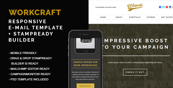 Responsive Email + Stampready Builder, Workcraft - Newsletters Email Templates