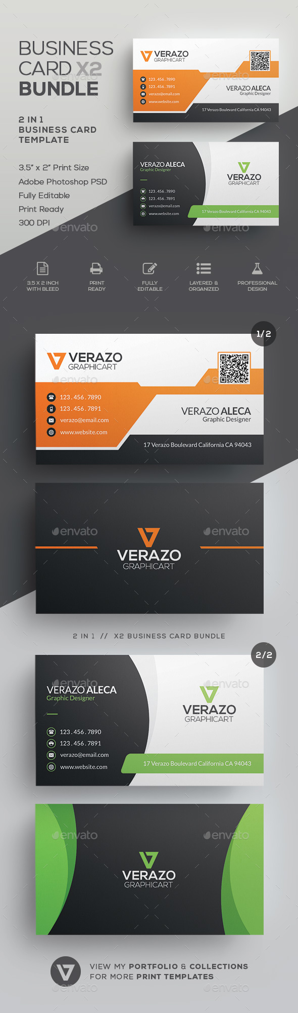 Business Card Bundle By Verazo GraphicRiver - 35 x2 business card template