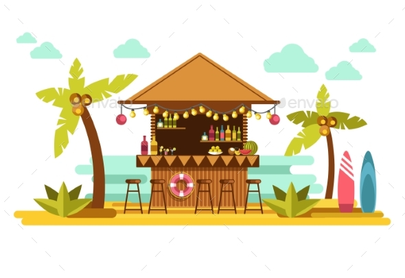 Beach Bar Cocktails in Tropical Resort for Summer - Seasons/Holidays Conceptual
