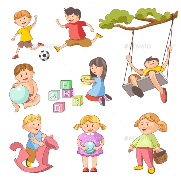Children Little Boys Girls Playing Outdoor Games - Landscapes Nature
