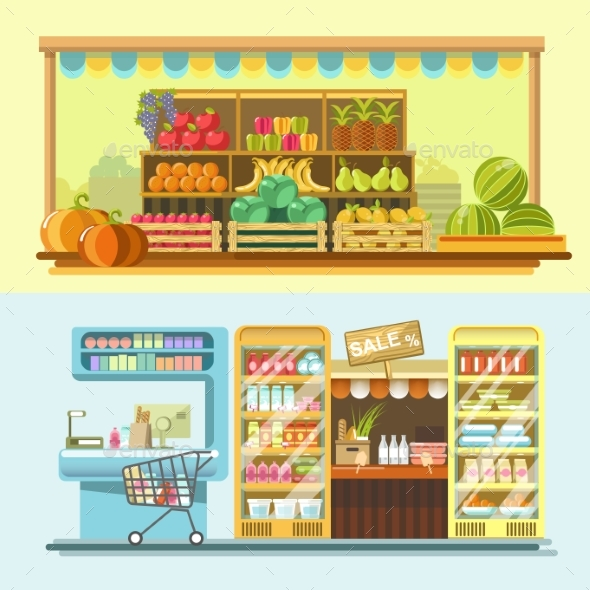 Counters of Shop or Store and Supermarket Product - Food Objects