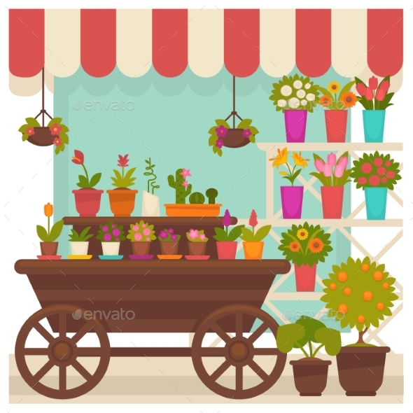Trade Tent with Beautiful Flowers in Pots - Flowers & Plants Nature
