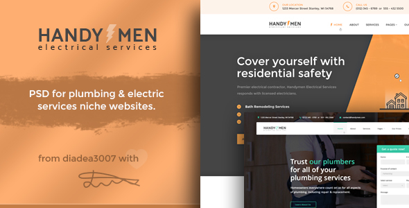 HandyMen – Plumbing & Electrical Services PSD Template