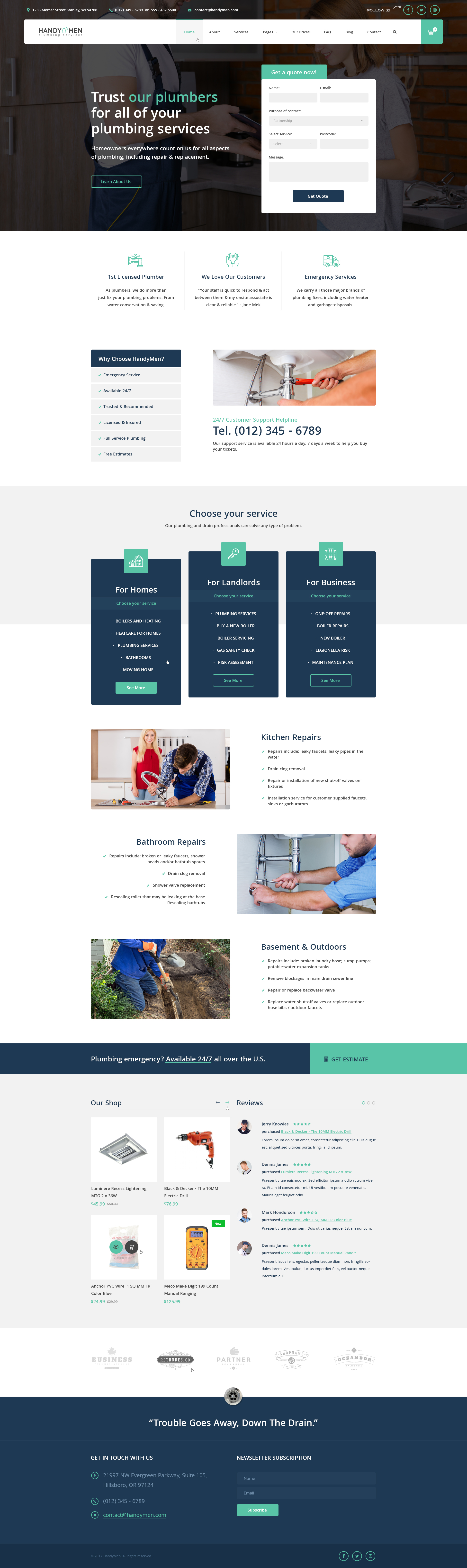 HandyMen - Plumbing & Electrical Services PSD Template by diadea3007