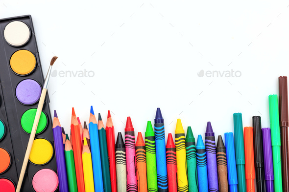 School supplies on white background - Stock Photo - Images