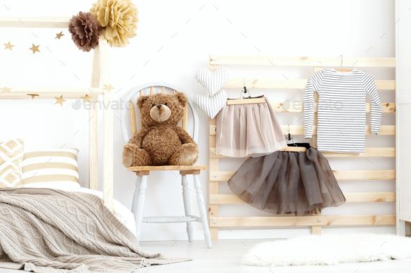 Stylish cozy scandinavian girl's bedroom - Stock Photo - Images
