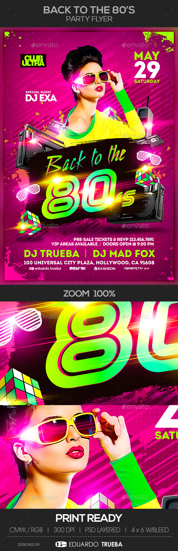 Back to the 80s Party Flyer - Clubs & Parties Events