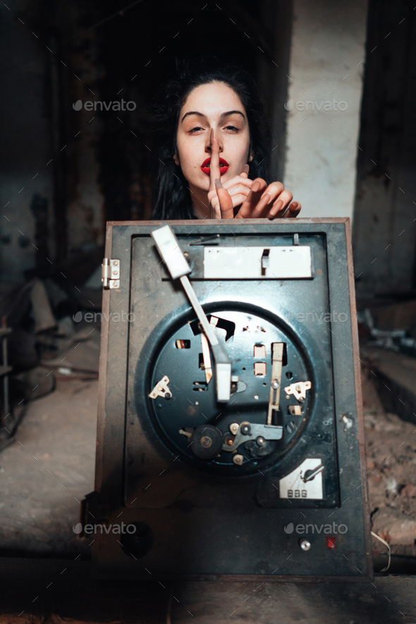 Girl in an abandoned building - Stock Photo - Images