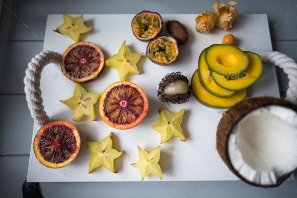 Exotic fruit platter. - Stock Photo - Images