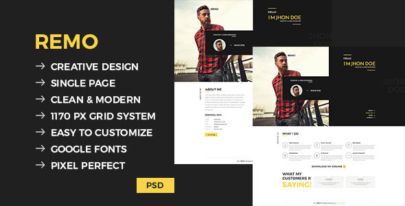 Remo – Single Page CV Template