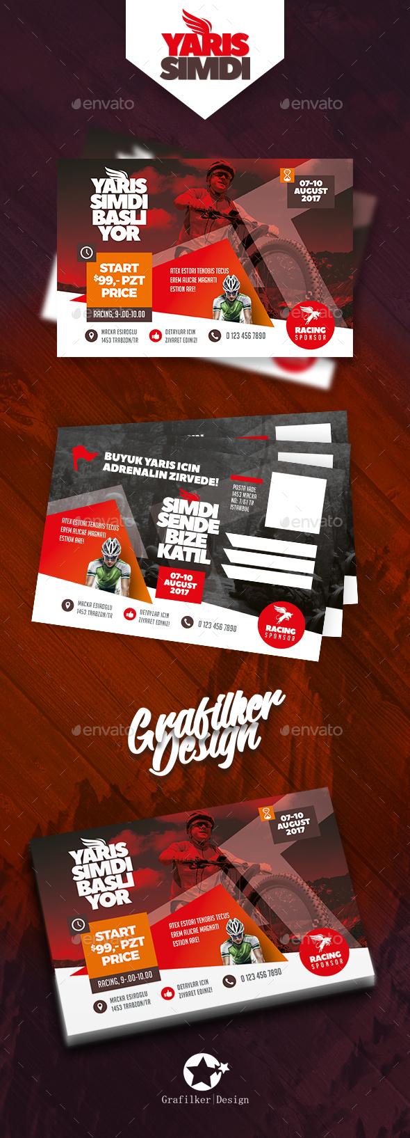 Bicycle Racing Postcard Templates - Cards & Invites Print Templates