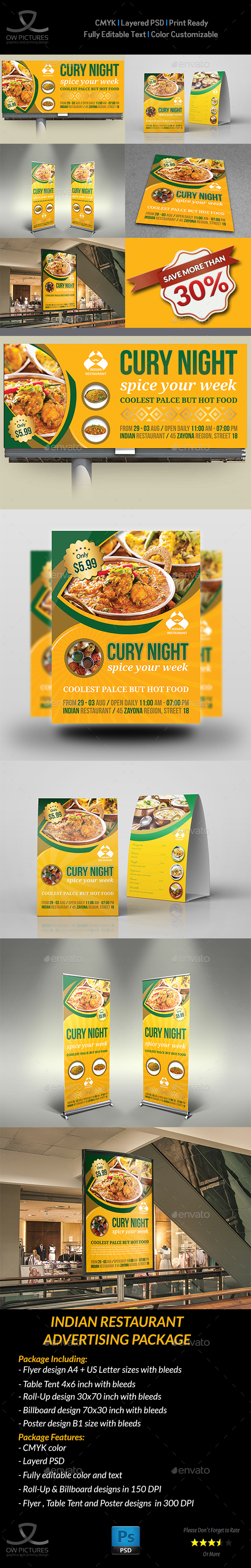 Indian Restaurant Advertising Bundle Template - Signage Print Templates