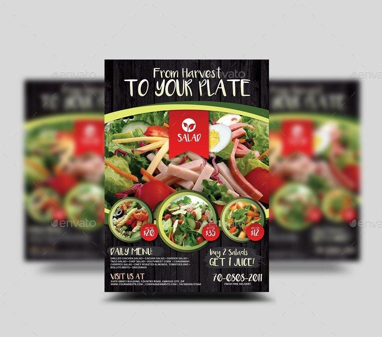 Vegetarian Salad Food Flyer by Artchery | GraphicRiver
