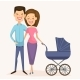 Happy Young Family Couple with Baby Carriage - GraphicRiver Item for Sale