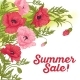 Summer Sale Card with Red and Pink Poppy - GraphicRiver Item for Sale