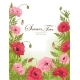 Summer Time Card with Red and Pink Poppy on Green - GraphicRiver Item for Sale