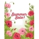 Summer Sale Card with Red and Pink Poppy on Green - GraphicRiver Item for Sale