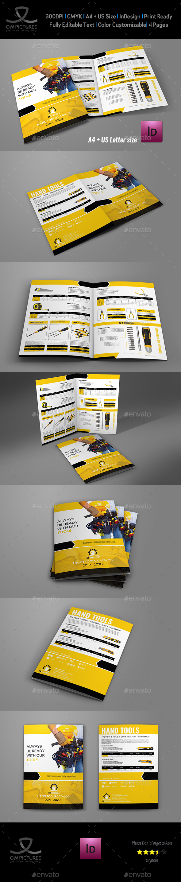 Hand Tools Products Catalog Bi- Fold Brochure Template - Catalogs Brochures