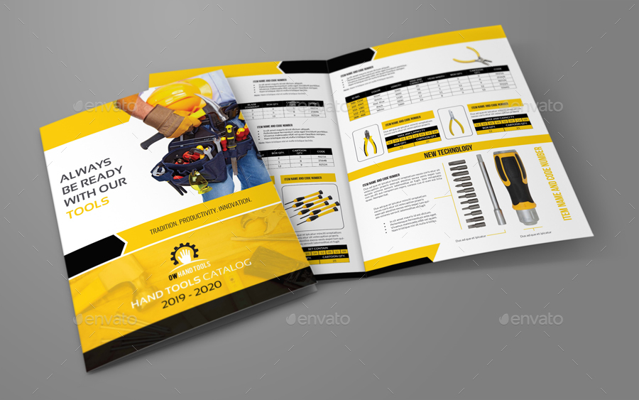 Product Brochure Template | Hand Tools Products Catalog Bi Fold Brochure Template By Owpictures