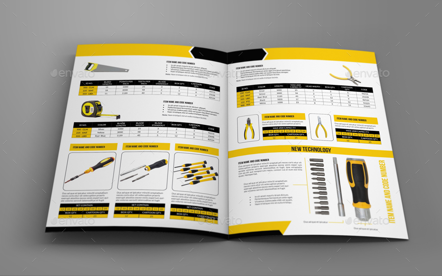 hand tools products catalog bi fold brochure template