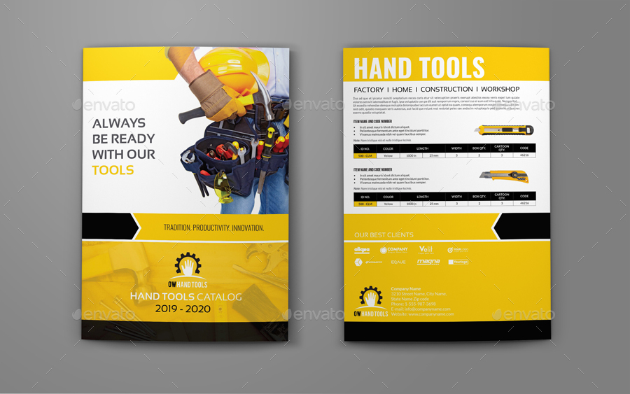 Hand Tools Products Catalog Bi Fold Brochure Template By Owpictures