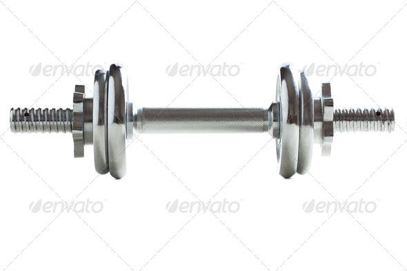 chrome dumbell - Stock Photo - Images