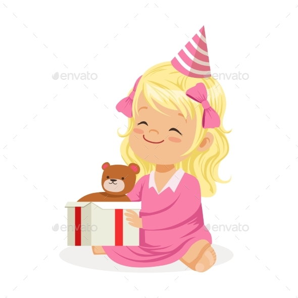 Smiling Baby Girl Wearing a Pink Party Hat - Seasons/Holidays Conceptual