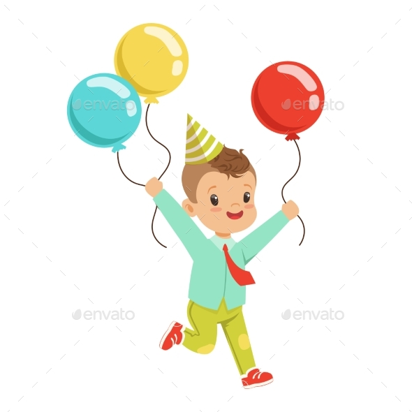 Happy Sweet Little Boy Wearing a Party Hat Running - Seasons/Holidays Conceptual