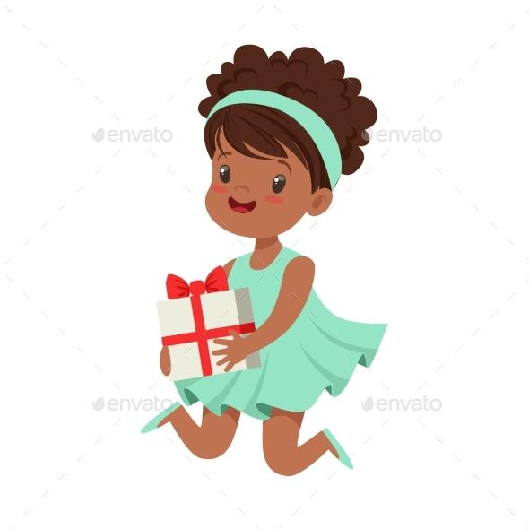 Happy Little Girl Wearing Magic Mint Dress - People Characters