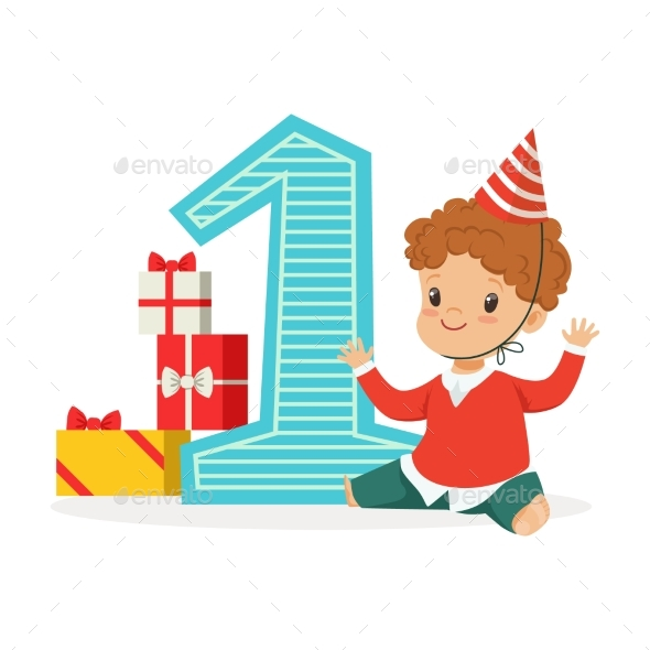 Happy Baby Boy Celebrating His First Birthday - People Characters