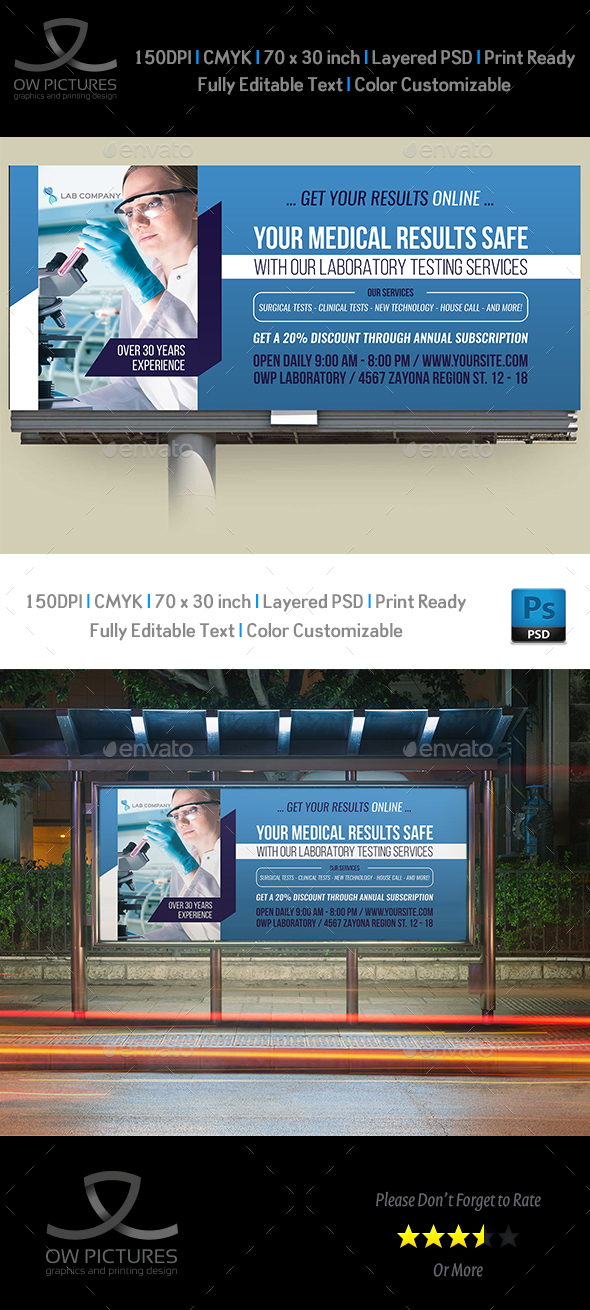 Medical Laboratory Billboard Template - Signage Print Templates