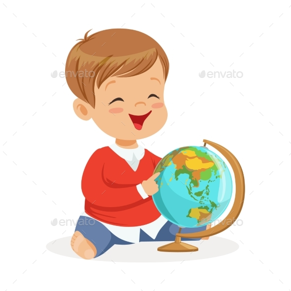 Smiling Little Boy Sitting and Playing with Globe - People Characters