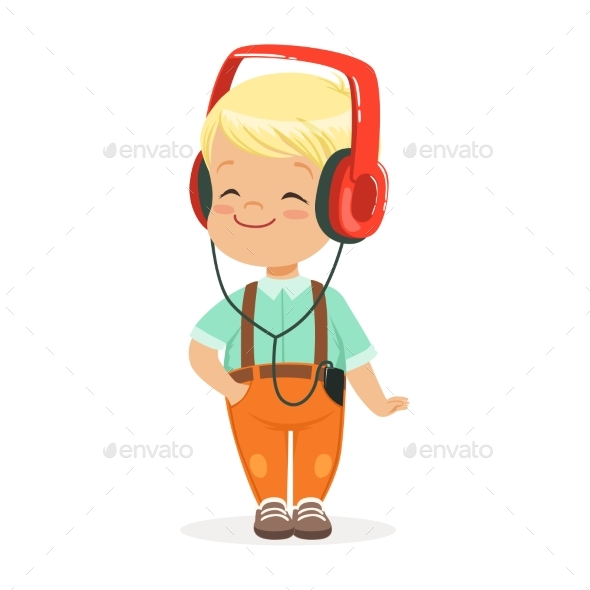 Smiling Little Boy Listening To Music - People Characters
