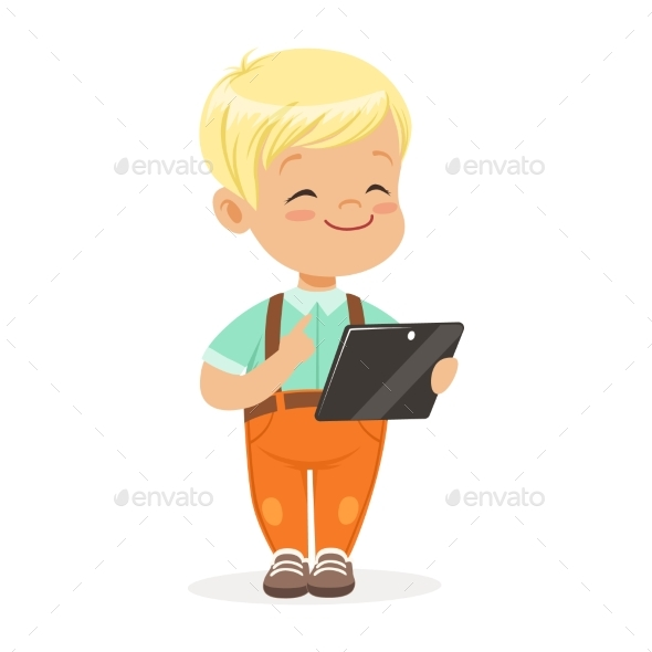 Smiling Little Boy Using Digital Tablet - People Characters