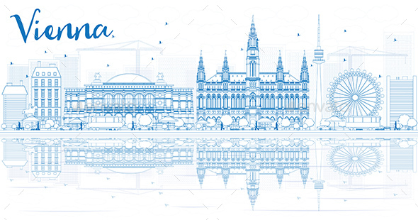 Outline Vienna Skyline with Blue Buildings and Reflections. - Buildings Objects