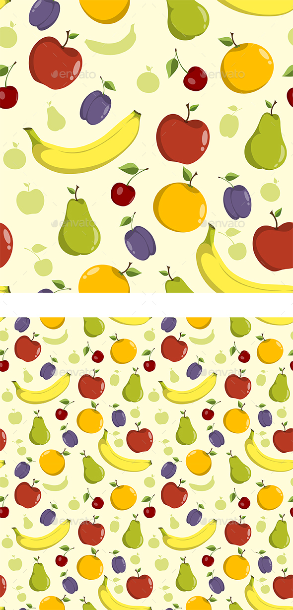 Seamless Background Pattern with Fruit - Patterns Decorative