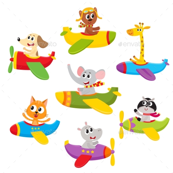 Little Baby Animal, Pet Characters Flying - Animals Characters