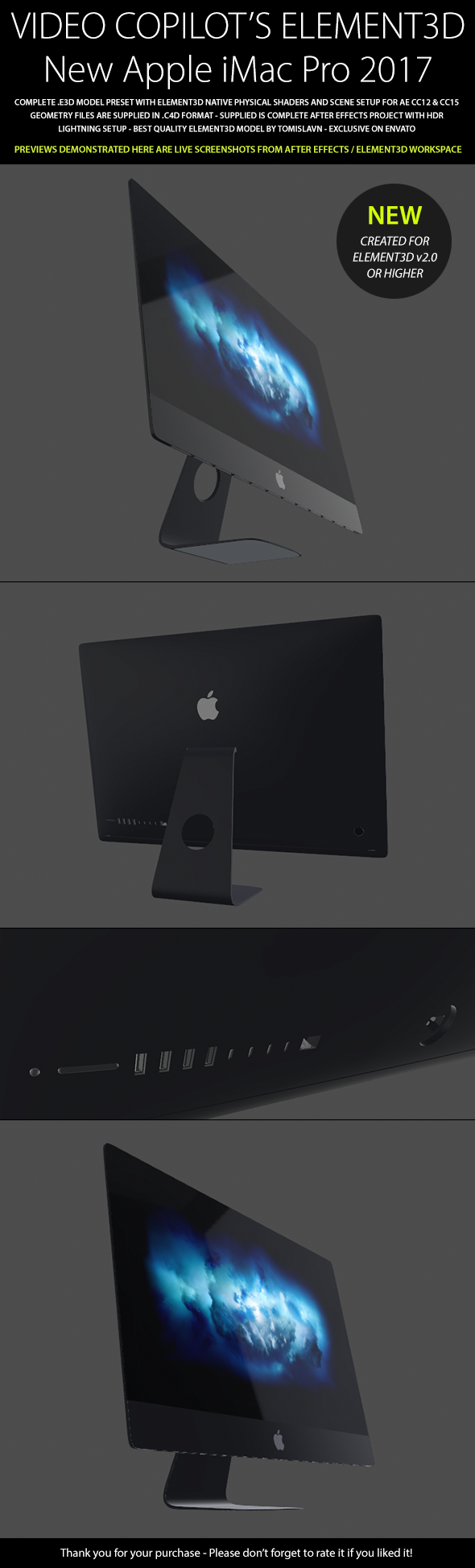 Element3D - Apple iMac Pro 2017 - 3DOcean Item for Sale