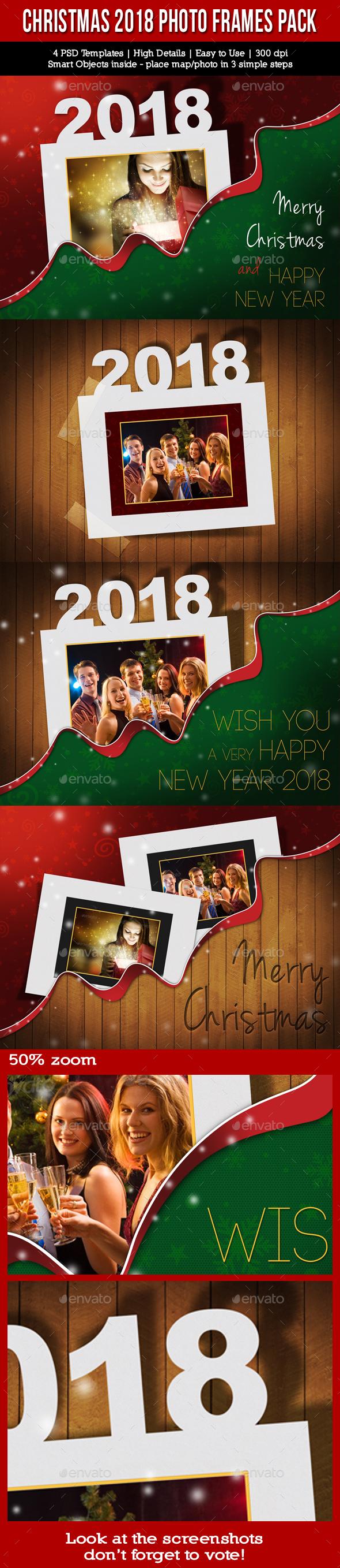 Christmas Holidays 2018 Photo Frames Pack - Seasonal Photo Templates