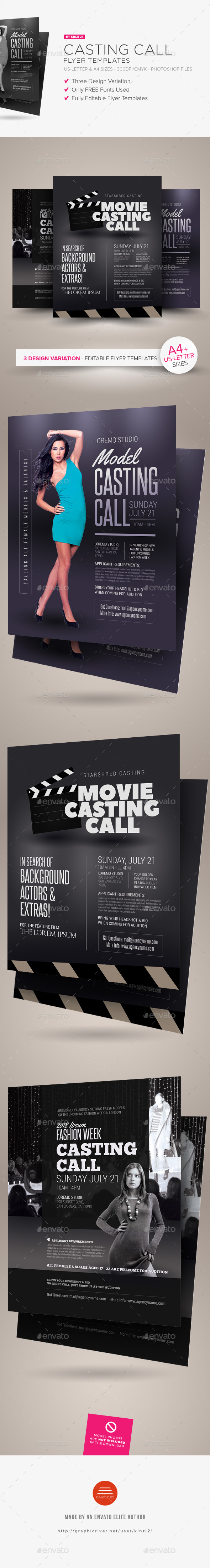 Casting call flyer templates by kinzi21 graphicriver casting call flyer templates miscellaneous events pronofoot35fo Choice Image