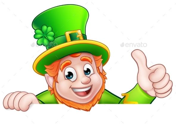 cartoon st patricks day leprechaun top of sign by krisdog graphicriver