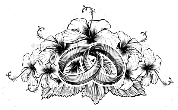 Wedding Rings and Hibiscus Flowers - Flowers & Plants Nature