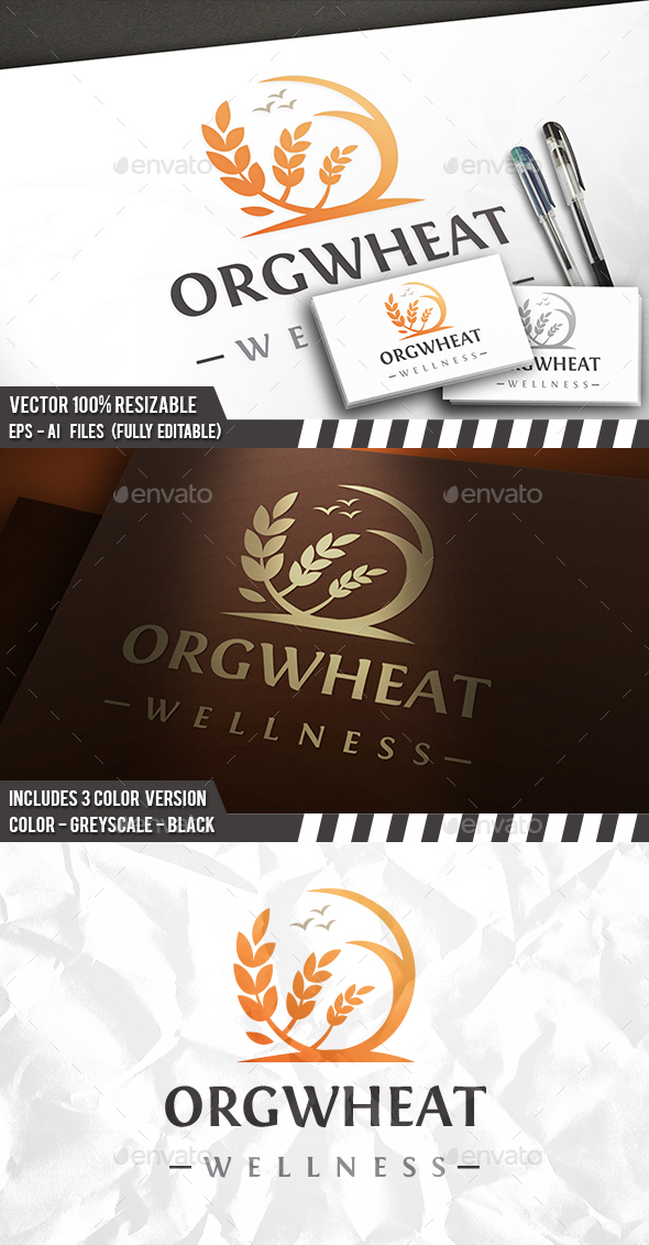 Wheat Crop Logo - 3d Abstract