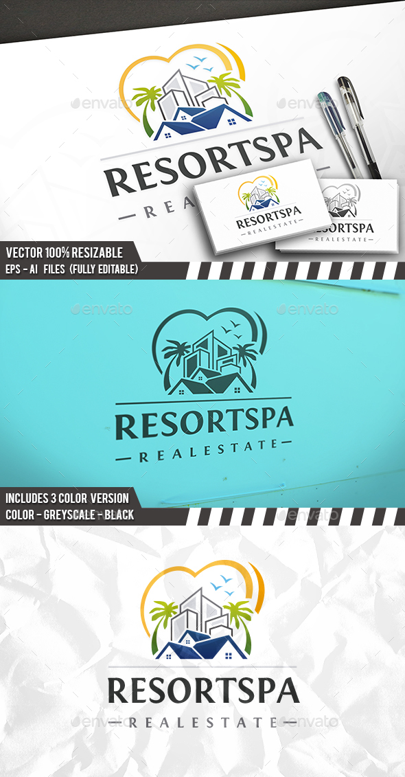 Beach Property Love Logo - Buildings Logo Templates