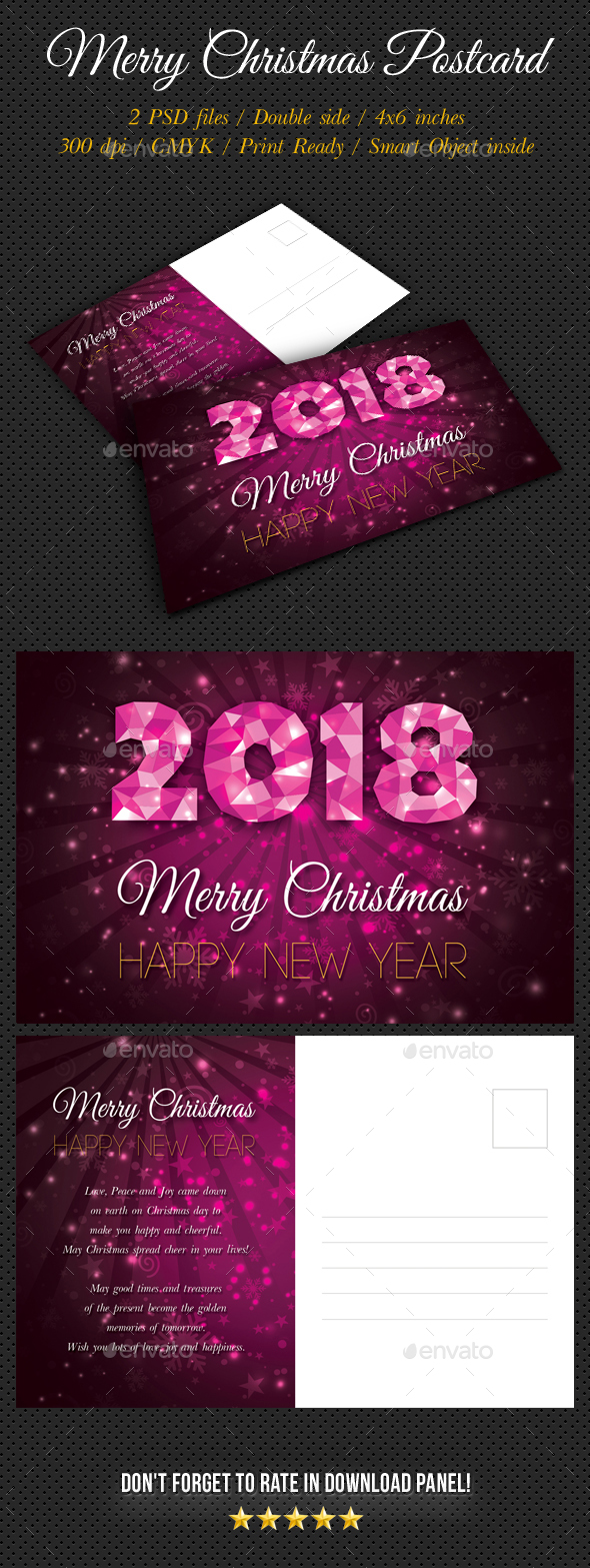 Merry Christmas Postcard Template V04 - Holiday Greeting Cards