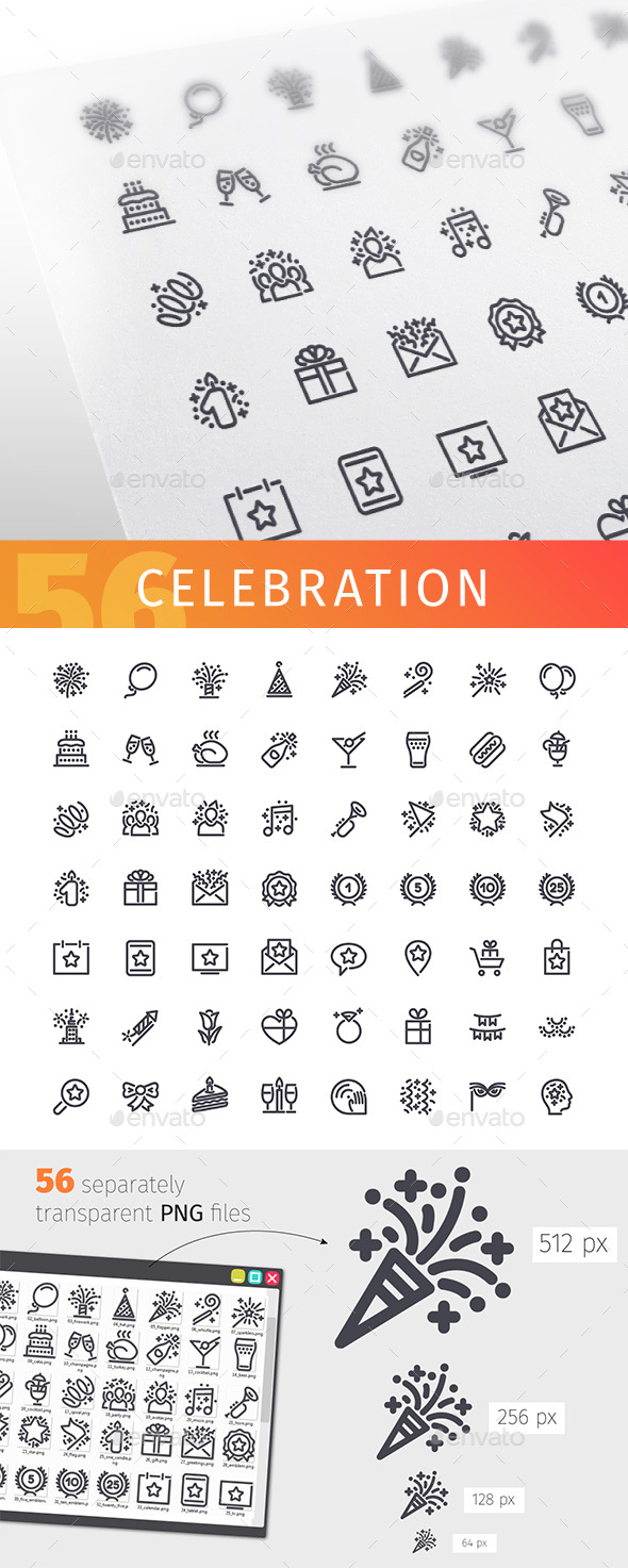 Celebration Line Icons Set - Objects Icons