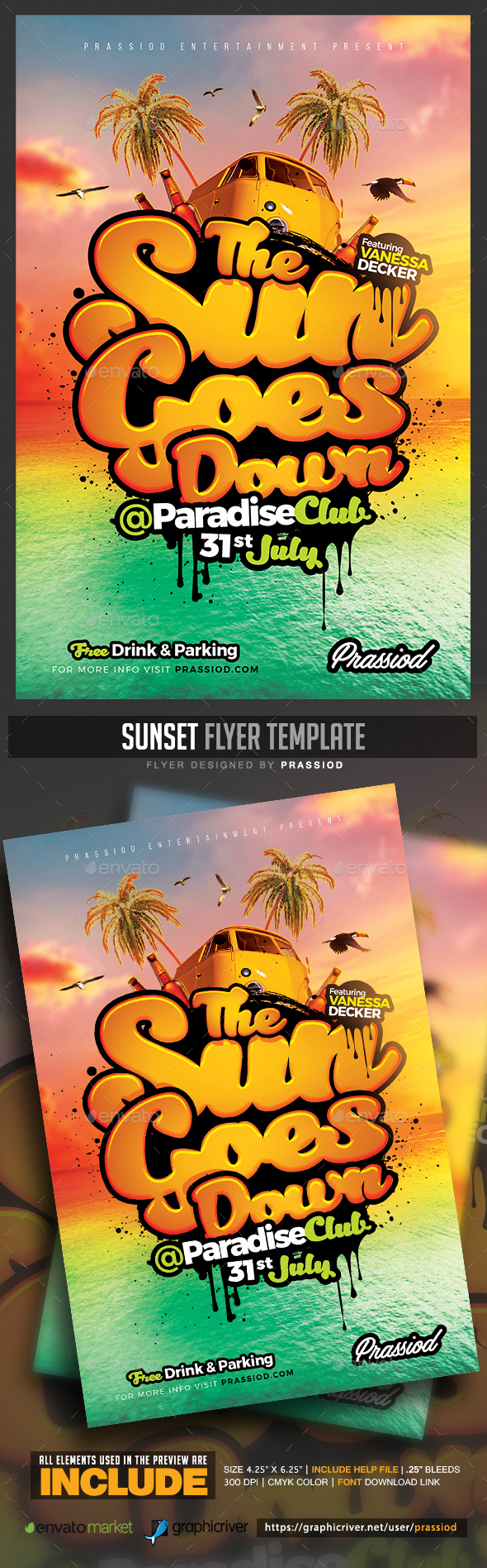 Sunset Flyer Template - Clubs & Parties Events
